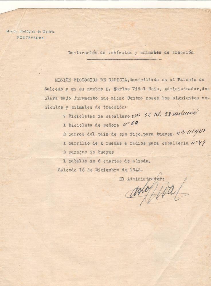 Declaración de vehículos y animales de tracción enviada al Ayuntamiento de Pontevedra para el pago del Impuesto Municipal de Vehículos. 1942-12-18. http://aleph.csic.es/F?func=find-c&ccl_term=SYS%3D000127202&local_base=ARCHIVOS:  (MBG)