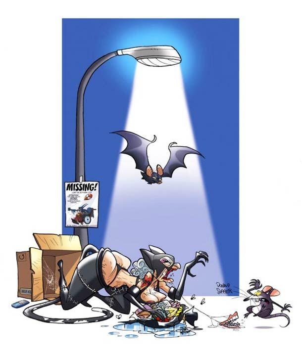 Les illustrations de Super Héros vieillissant de l'illustrateur italien Donald Soffritti