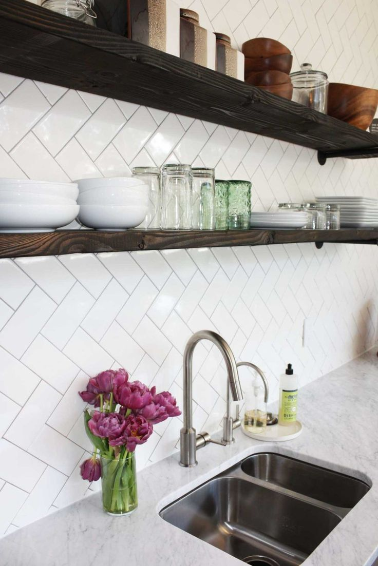 Before & After: Paige and Todd's Kitchen Renovation | Design*Sponge - love the herringbone tiles!