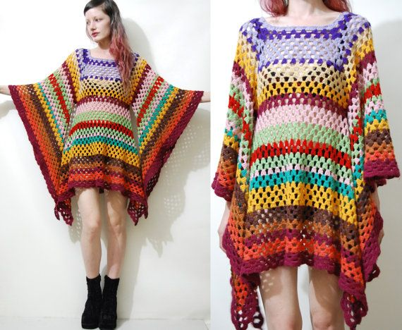 CROCHET DRESS Vintage Colourful Granny Square Bell by cruxandcrow