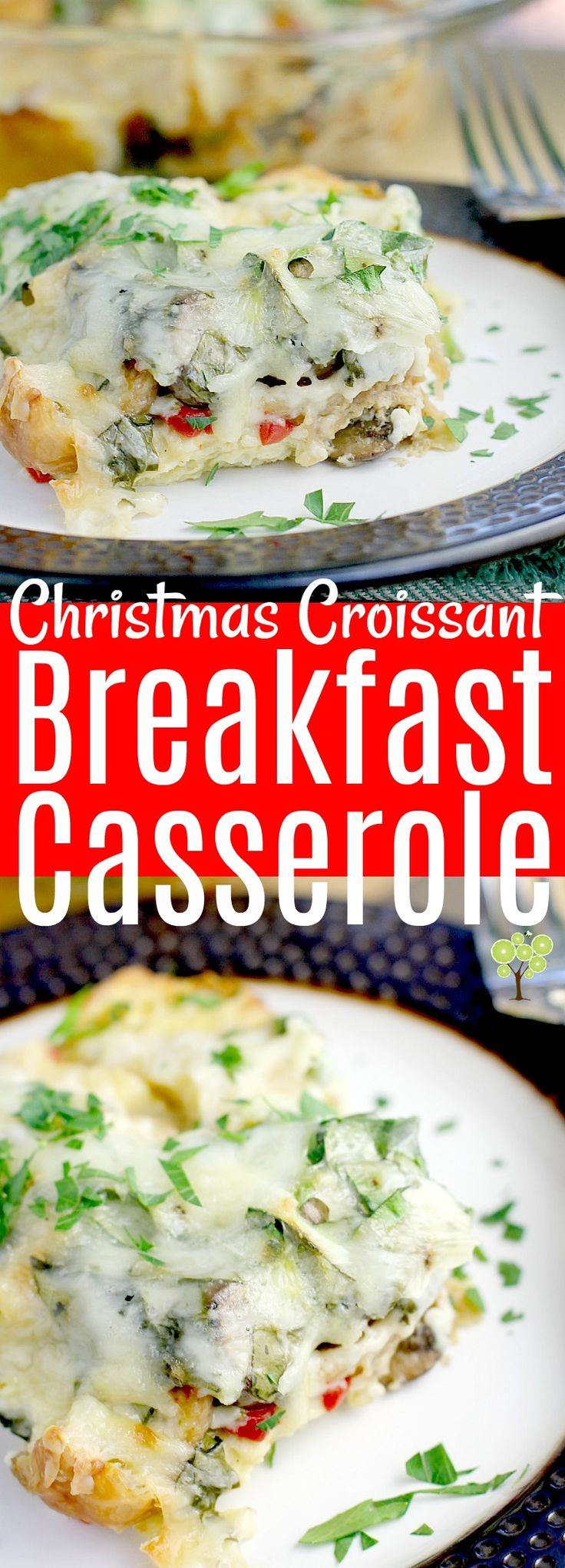 Christmas Croissant Breakfast Casserole! This creamy, cheesy, egg-y vegetarian recipe is assembled the night before, so all you have to do is bake in the morning. #recipe #breakfast #casserole #vegetarian #christmas #croissant #family #holiday