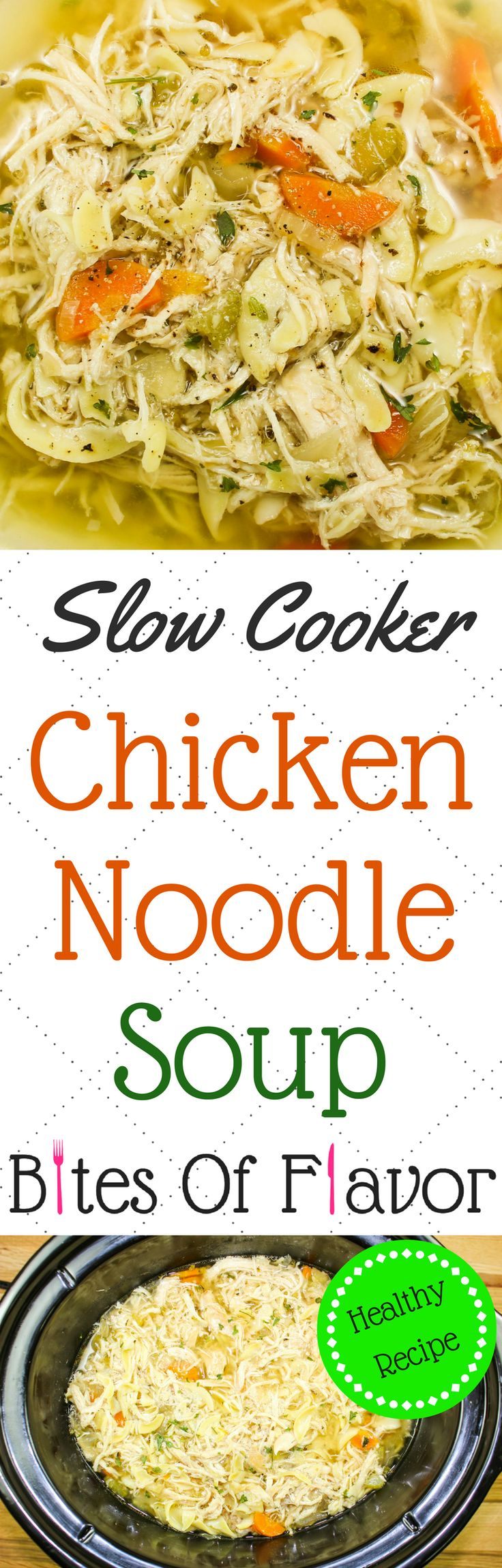 Slow Cooker Chicken Noodle Soup-True comfort in a bowl! Perfect for cold days & when you're under the weather. Hearty vegetables, shredded chicken, and delicious broth are the perfect combination. Easy to make & healthy! Weight Watcher friendly (3 SmartPoints).