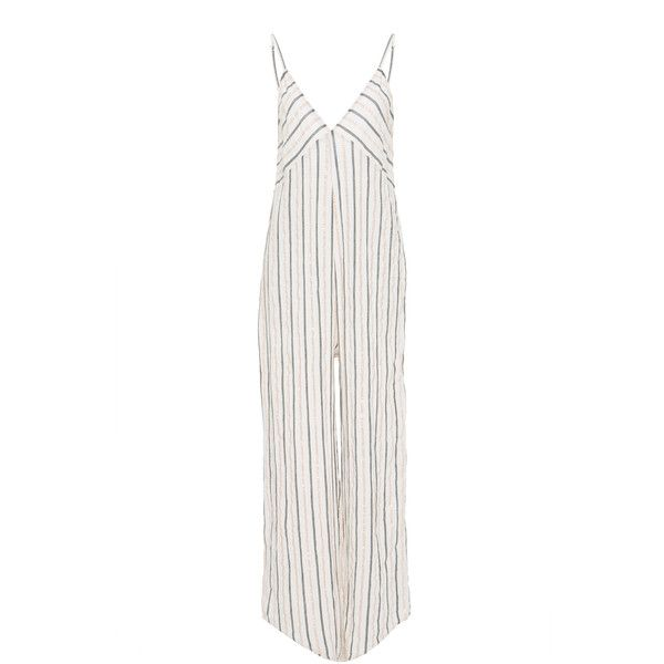 Tori Praver Cadence Full Length Jumpsuit (€140) ❤ liked on Polyvore featuring jumpsuits, white, white v neck jumpsuit, v neck jumpsuit, tori praver swimwear, white jump suit and white jumpsuit