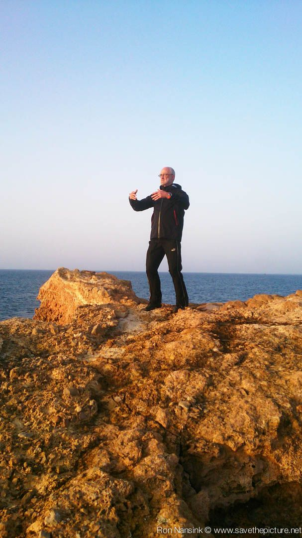 Early morning Ritsuzen training on the magic rock in front of the Natural Tuning retreat location at Casa Gazebo, Ibiza, Spain.
