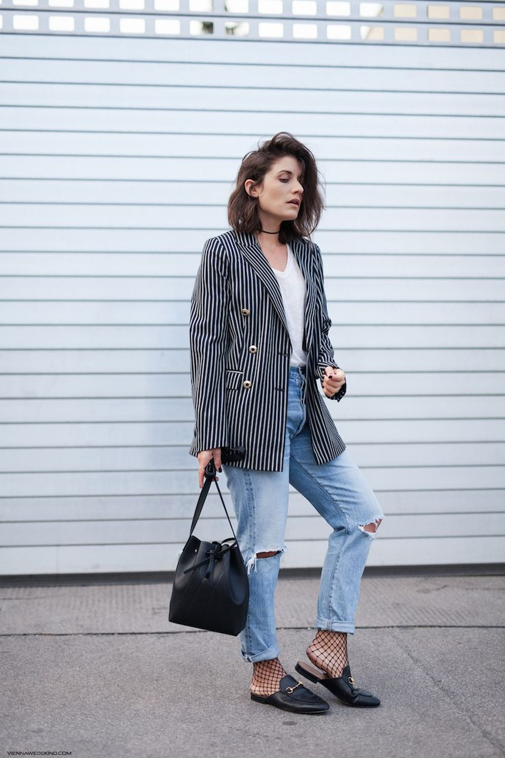 Striped Blazer & Boyfriend Jeans I Details on viennawedekind.com