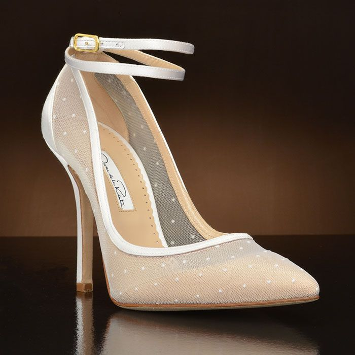 """MimiDot-1601"" by Oscar de la Renta. This classic and feminine wedding shoe by Oscar de la Renta shows off with  gorgeous sheer pok-a-dots and a double ankle strap! This pointy toe wedding shoe will compliment a multitude of wedding gowns with the sheer white color. Not Dyeable. Made in Italy. $495. http://www.myglassslipper.com/MIMIDOT-1601"