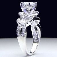 6 Prong Beautiful Crossover Pave Set Designer Engagement Ring, would like it more if the band was more clean/smooth