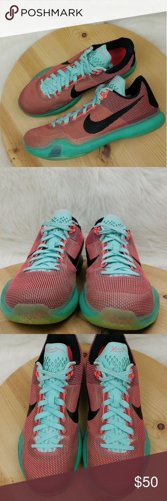 """Nike Kobe 10 """"Easter"""" mens athletic shoes This """"Easter"""" edition of theNike Kobe 10is dressed in a mixture of Hot Lava, Sunset Glow, and Black color scheme. The shoe is inspired from the shade of robin's egg and maintains the sophisticated simplicity of Kobe Bryant's 10th signature shoe. Washed and sanitized Have minor scuffs/stains/ two little holes pictured Still look great Nike Shoes Athletic Shoes"""