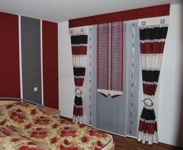 Moderne Schlafzimmer Schiebegardine in rot-weiß-schwarz - http - schlafzimmer schwarz wei