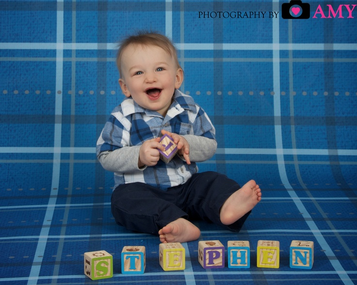 Studio picture 9 month old baby boy