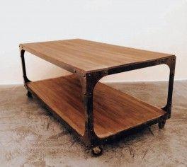 mesa ratona hierro y madera--