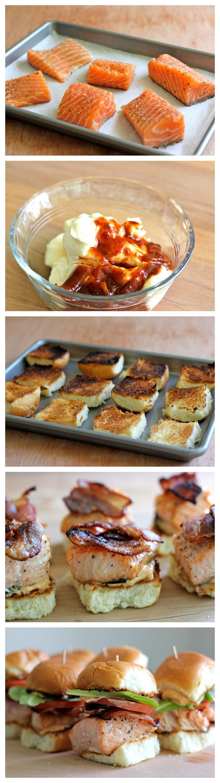 .Salmon BLT Sliders with Chipotle Mayo on Martin's Potato Rolls!