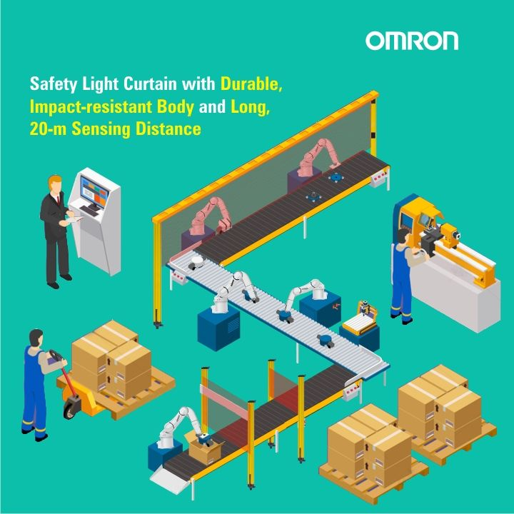 Omron's Safety Light Curtain upon detection of personnel the machine on