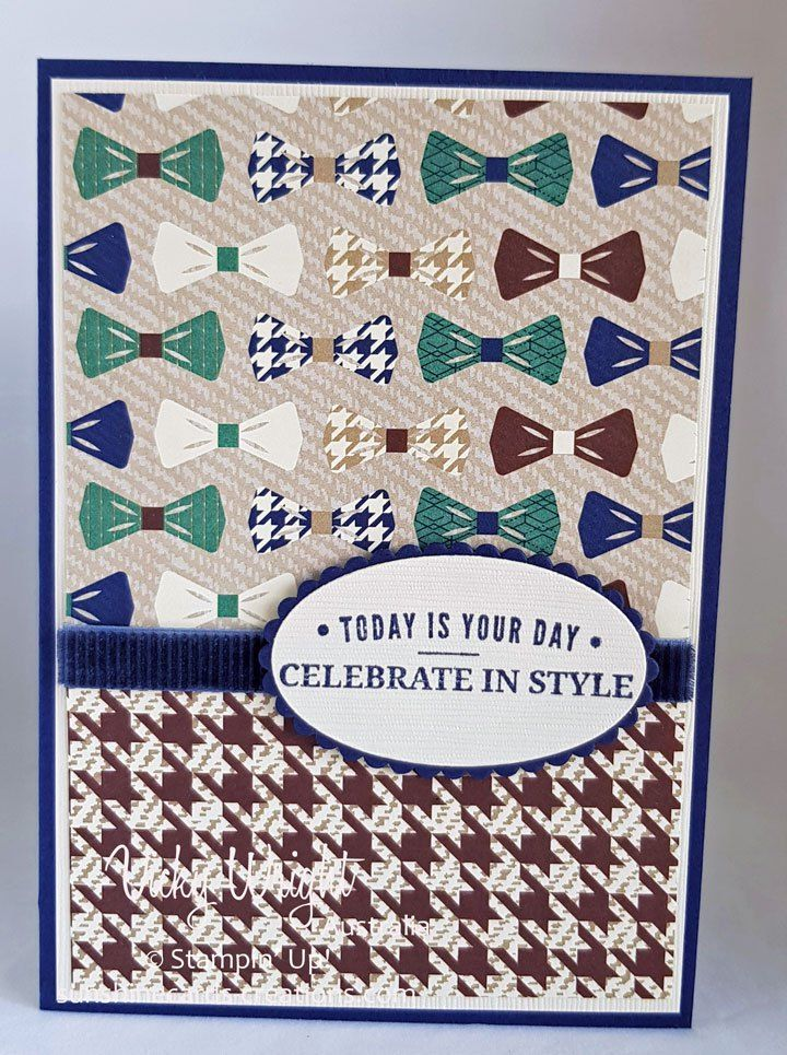 2018 Occasions Catalogue, Truly Tailored Stamp Set, Tue Gentleman DSP, Free Tutorial, Vicky Wright, Stampin' Up!