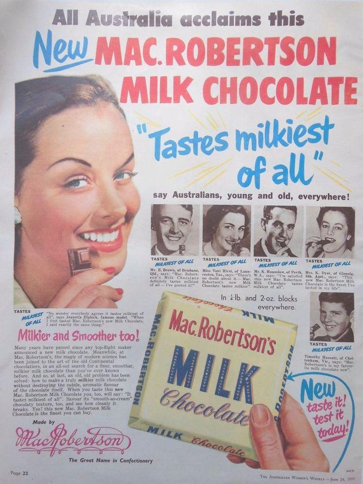 MAC.ROBERTSON S MILK CHOCOLATE AD 1953 original vintage AUSTRALIAN advertising