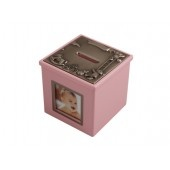 Sparbössa rosa träkub 9x9cm, 1 foto