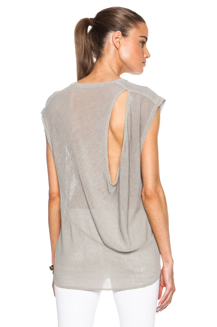 Inhabit Drapy Linen Crew Shirt in Fawn - what a pretty unusual backside!