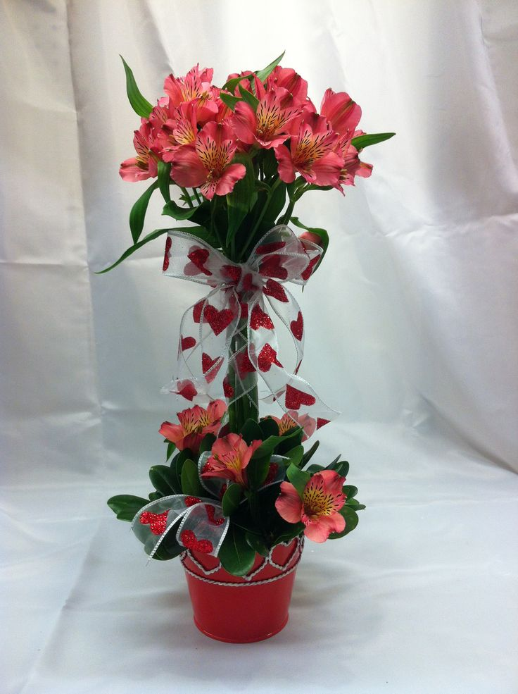 """Valentines Day LOL we charge 15 for this Special! """"Hearts and Flower Topiary"""" $40"""