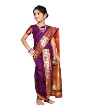 Bhartiya Paridhan Purple Art Silk Maharshtrian Paithani Ready Made Saree
