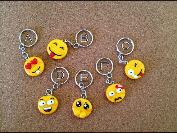 Emoji Faces Polymer Clay Charm Keychain Emoji Keychain 9