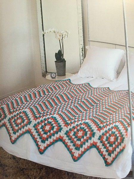 granny square and chevron crochet blanket