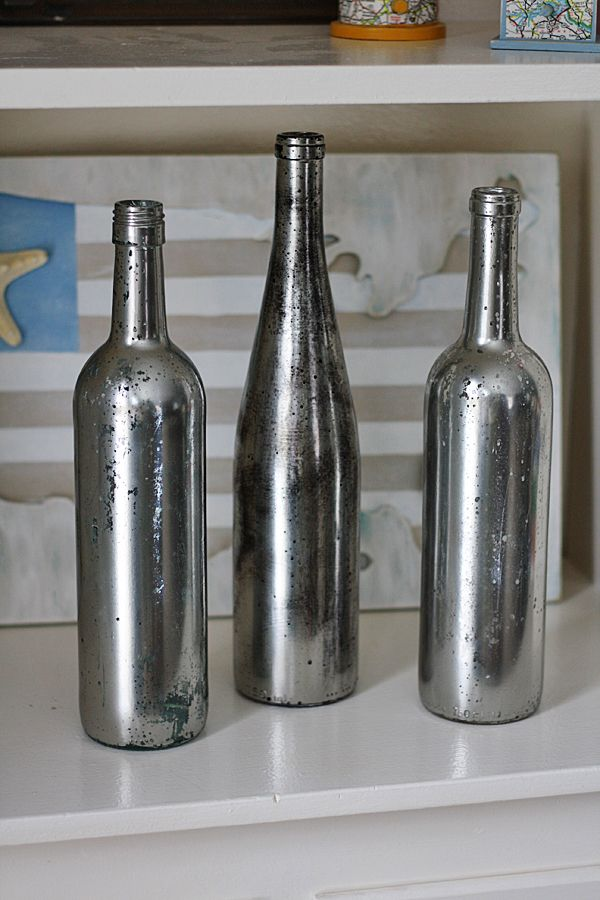 Upcycled Looking Glass Wine Bottles.  I like this, but think I will skip the vinegar step and keep mine mirrored. Of course, I might change my mind once I see them, but that's the fun of doing these things, isn't it?