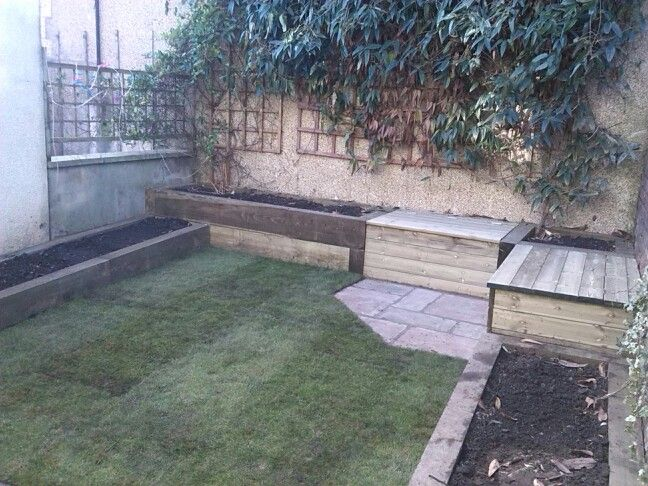 Small garden with raised beds