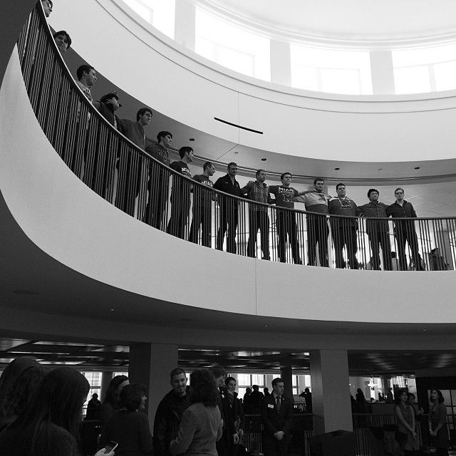 The Cheezies sing the alma mater at the Armstrong Student Center Dedication.