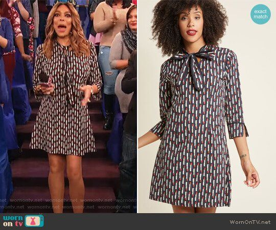 Wendy's black lipstick print dress on The Wendy Williams Show.  Outfit Details: https://wornontv.net/90191/ #TheWendyWilliamsShow