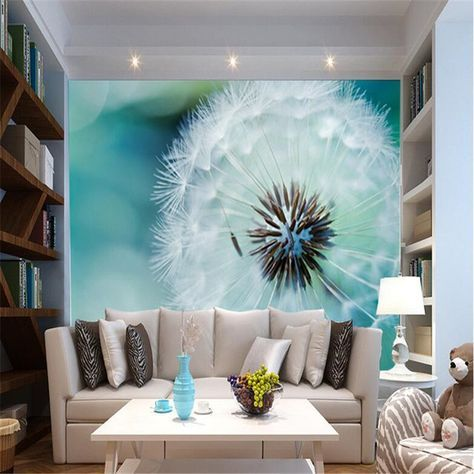Custom Foto Behang 3D Stereo Grote Muurschilderingen Abstracte paardebloem woonkamer slaapbank slaapkamer flash zilveren doek behang