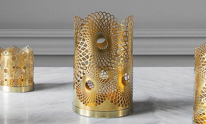 Photophore en laiton ou cuivre Feather design Lara Bohinc - Skultuna