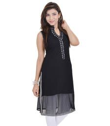 Buy Black Free Size Georgette Designer Kurti kurtas-and-kurti online