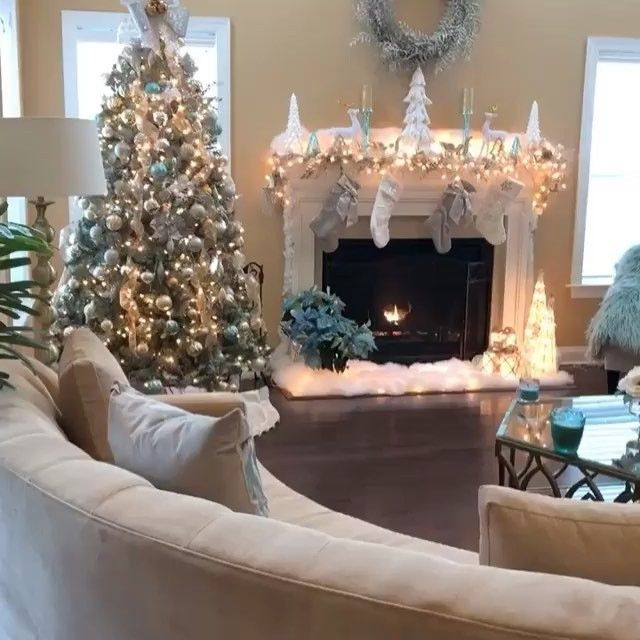 Deck The Halls This Is The Modern Winter Wonderland Of Our Dreams Thanks Christmas Fireplace Decor Christmas Decorations Rustic Tree Christmas Fireplace