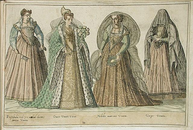 """Venetian ladies, from """"Omnium pene Europae, Asiae, Aphricae atque Americae Gentium Habitus,"""" Abraham de Bruyn (Flanders, Antwerp, 1540 - 1587), LACMA Collections Online."""