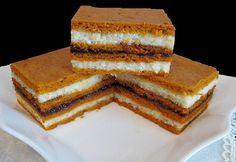 Reteta culinara Desert prajitura de post cu suc de rosii, crema de gris si gem din categoria Prajituri. Cum sa faci Desert prajitura de post cu suc de rosii, crema de gris si gem