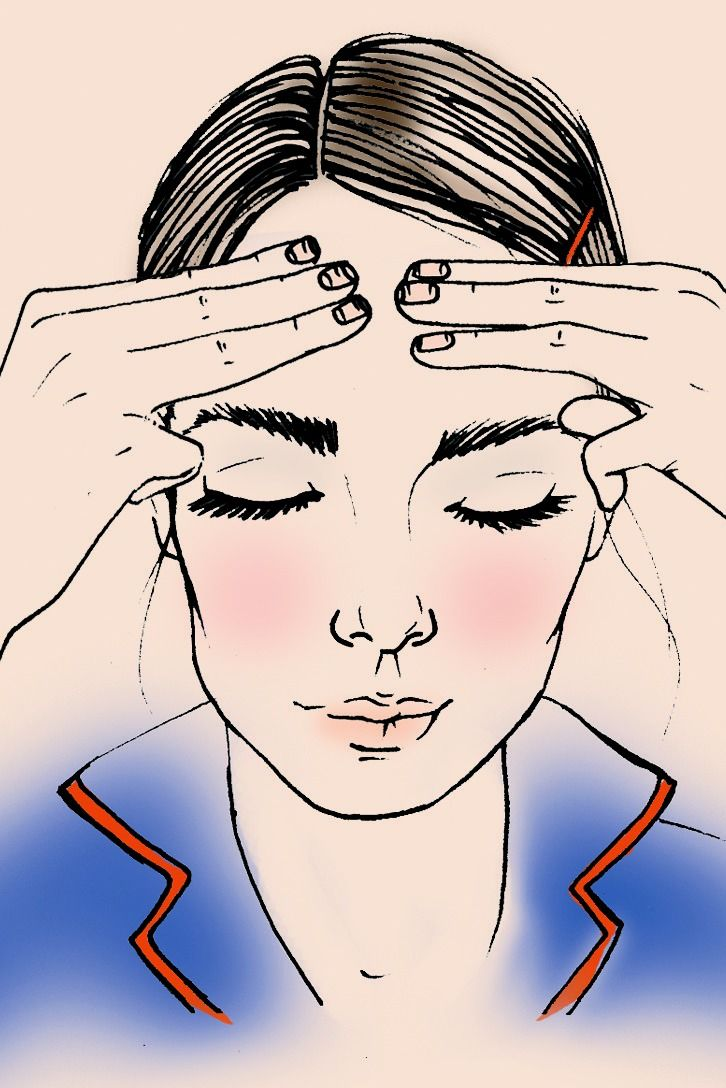 "This one-minute massage helps smooth skin as you sleep. ""It's best to do it nightly, right before bed, to flush out toxins,"" says dermatologist David E. Bank, M.D., director of the Center for Dermatology, Cosmetic and Laser Surgery in Mount Kisco, NY. Sturdy your thumbs just above each temple; holding your first three fingers together, rub your forehead in small circles, starting from between your brows and moving up and out as you go. Repeat for 60 seconds. ""This increases circulation to…"