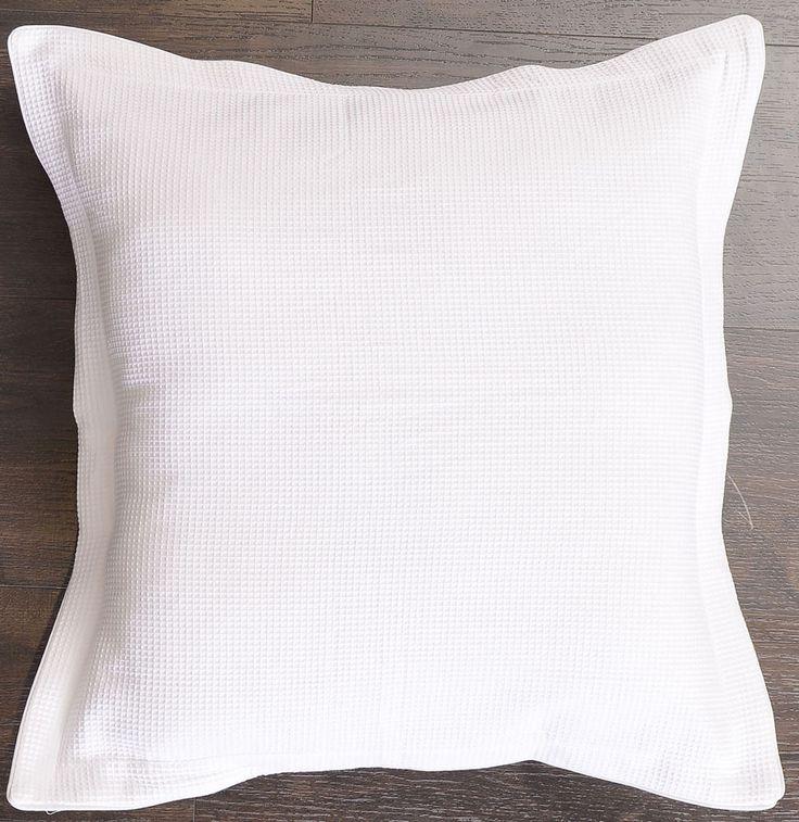 New 100% cotton Luxury Waffle European Pillowcase Cushion cover White 65x65cm