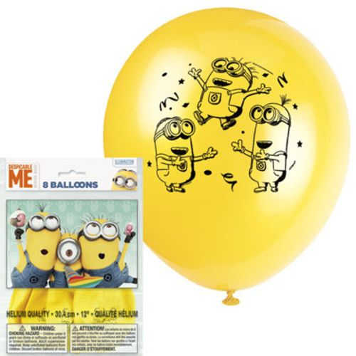 "DESPICABLE ME Minions 12"" Latex BALLOONS Birthday Party Supplies Decorations"