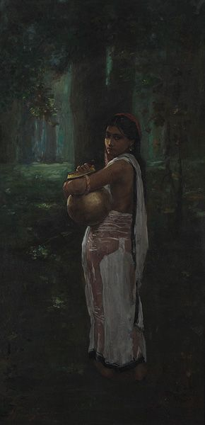 Hemendranath Mazumdar, Untitled (Woman with Pitcher), 1921, Oil on canvas
