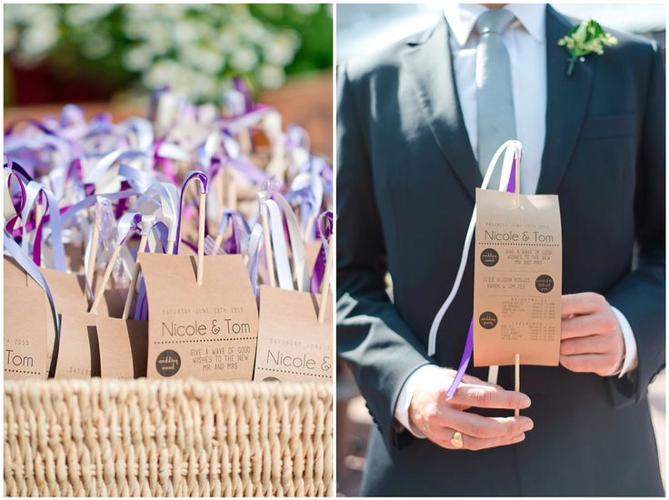 Rustic wedding. Programs printed on Kraft paper with ribbon wand.