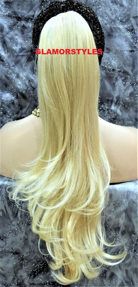 """27"""" Layered Bleach Blonde Ponytail Hair Piece Extensions Drawstring/Combs #613  #Glamorstyles #Ponytail"""