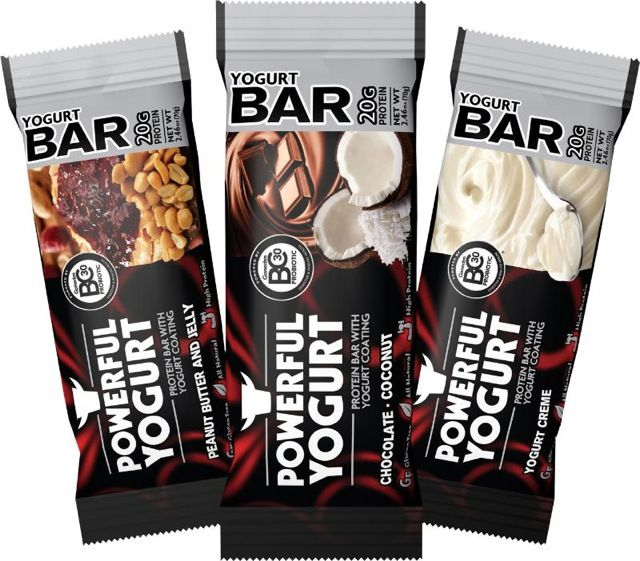 The Powerful Yogurt Protein Bar is the first protein bar with yogurt coating and probiotics