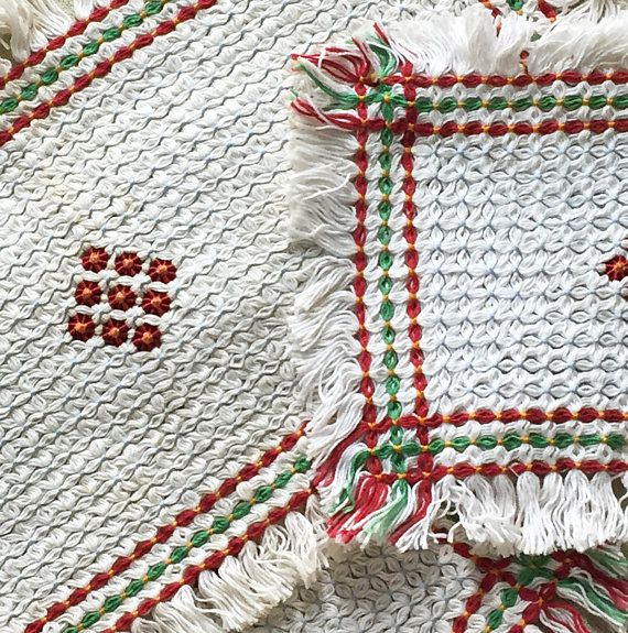 Hand Woven Table Mat Set  Vintage Table Protector Set  Table