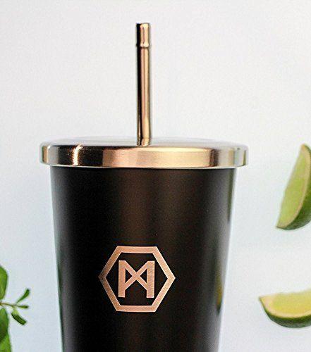 Für den kühlen Smoothie oder den heißen Kaffee: PAMORA Edelstahl-Trinkbecher / exklusiver Design-Thermobecher für kalt und heiß / vakuum doppelwand isoliert / mit Deckel und Strohhalm / 400ml / to go / für Kaffe, Tee, Smoothies und Shakes / BPA-free