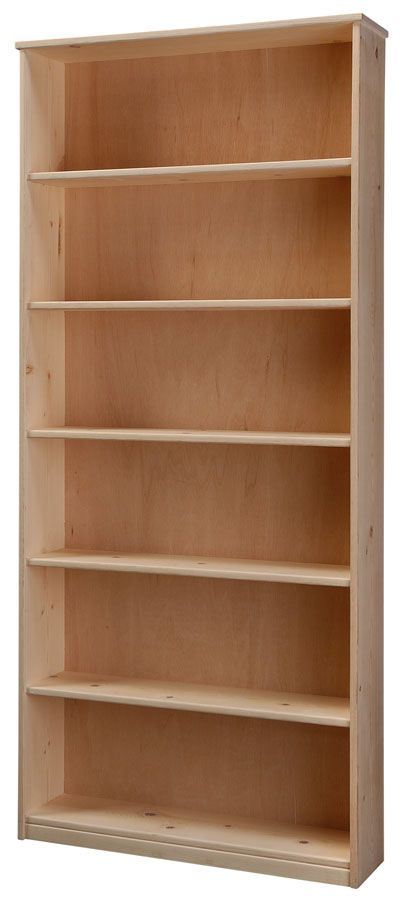 """Solid Pine Wood 9"""" Deep Bookcase with Fixed Shelves Unfinished 30w x 72h"""