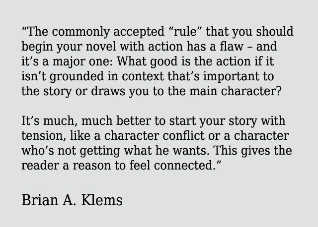 Start your novel with conflict