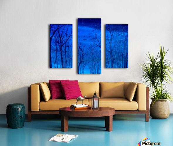 Interior Decor, Inspiration, blue, forest, trees, nature, triptych, 3 split,  canvas, multi panel canvas, print