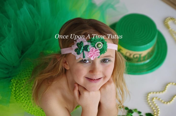 Pink Shamrock Flower Headband - St. Saint Patricks Day Hairbow - 3 Leaf Clover Hair Bow - Light Pink Emerald Kelly Green Sparkle Accessories by OnceUponATimeTuTus on Etsy