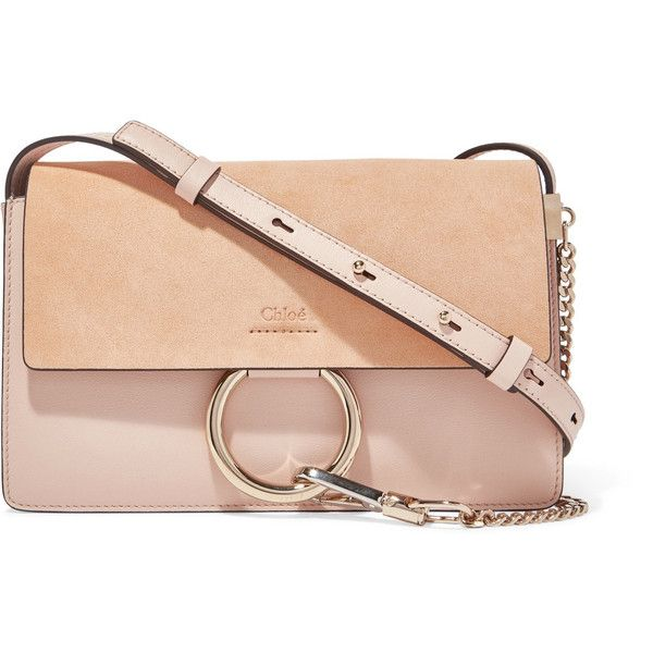 Chloé Faye small leather and suede shoulder bag ($1,185) ❤ liked on Polyvore featuring bags, handbags, shoulder bags, blush, suede handbags, red leather purse, chloe handbags, chloe purse and shoulder handbags