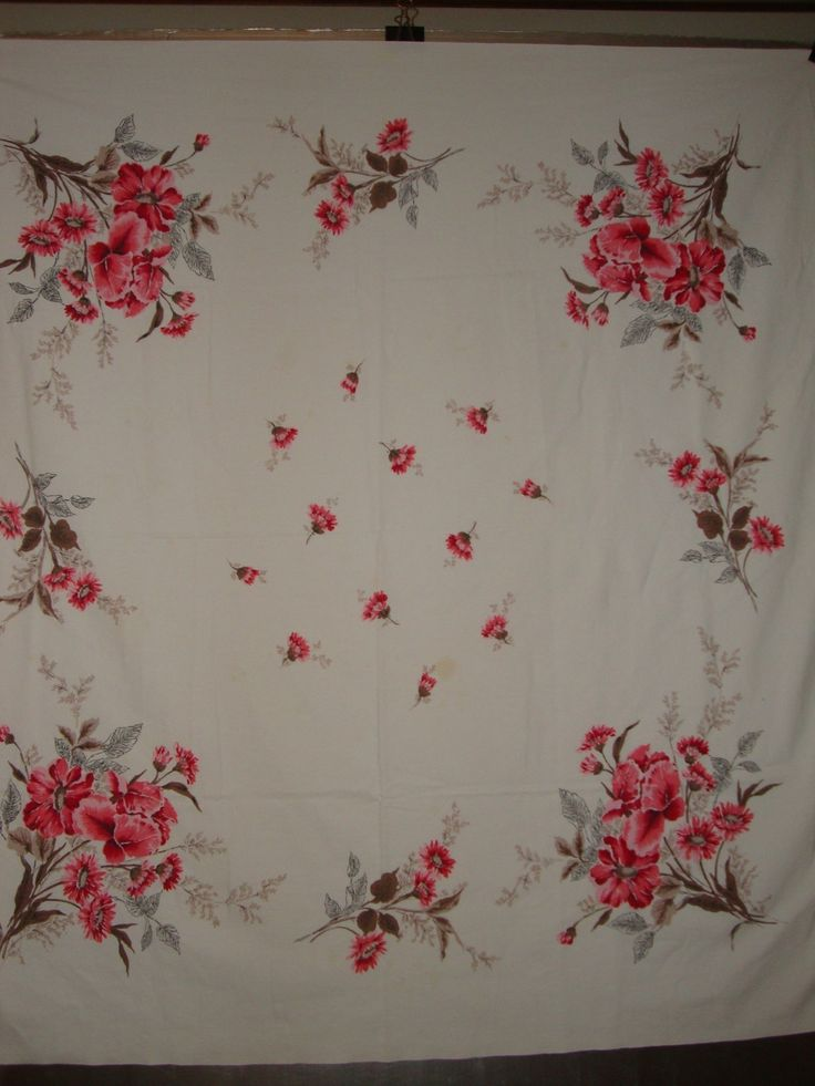 Vintage Tablecloth With Bright Pink Iris Poppies And Daisies Nice Pink  Shades | EBay